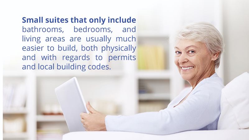 Small suites that only include bathrooms, bedrooms, and living areas are usually much easier to build, both physically and with regards to permits and local building codes.