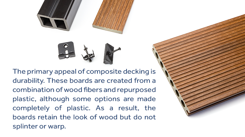 The primary appeal of composite decking is durability. These boards are created from a combination of wood fibers and repurposed plastic, although some options are made completely of plastic. As a result, the boards retain the look of wood but do not splinter or warp.