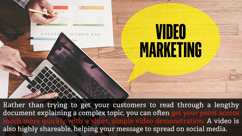 Rather than trying to get your customers to read through a lengthy document explaining a complex topic, you can often get your point across much more quickly with a short, simple video demonstration. A video is also highly shareable, helping your message to spread on social media.