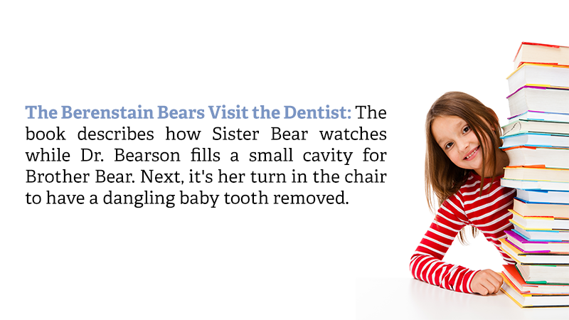 The Berenstain Bears Visit the Dentist: The book describes how Sister Bear watches while Dr. Bearson fills a small cavity for Brother Bear. Next, it's her turn in the chair to have a dangling baby tooth removed.