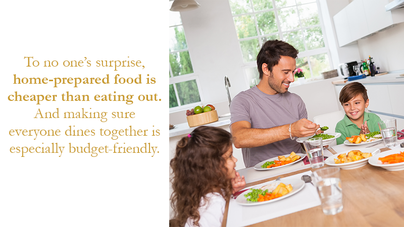 To no one's surprise, home-prepared food is cheaper than eating out. And making sure everyone dines together is especially budget-friendly.