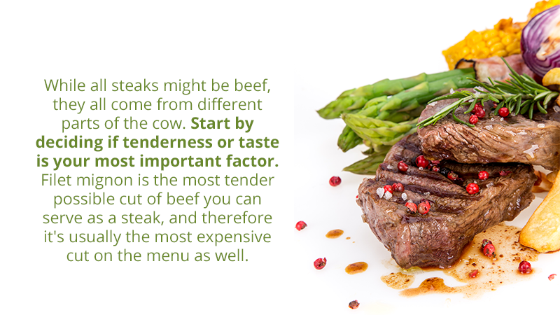 While all steaks might be beef, they all come from different parts of the cow. Start by deciding if tenderness or taste is your most important factor. Filet mignon is the most tender possible cut of beef you can serve as a steak, and therefore it's usually the most expensive cut on the menu as well.