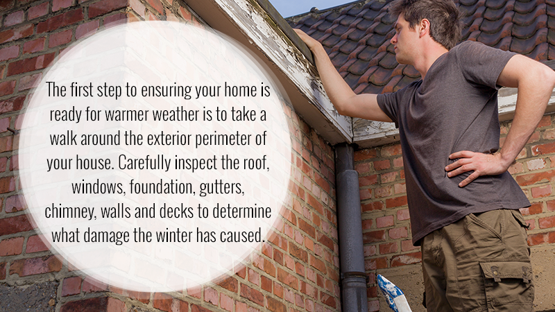 The first step to ensuring your home is ready for warmer weather is to take a walk around the exterior perimeter of your house. Carefully inspect the roof, windows, foundation, gutters, chimney, walls and decks to determine what damage the winter has caused.