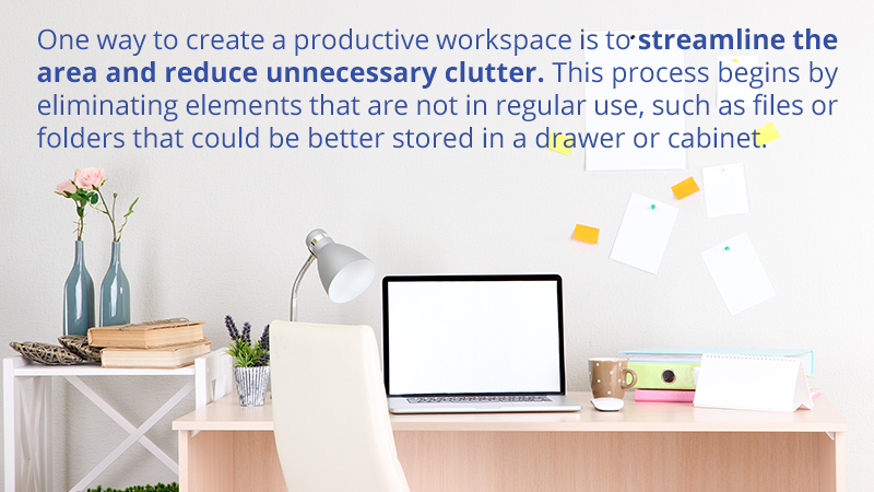 One way to create a productive workspace is to streamline the area and reduce unnecessary clutter. This process begins by eliminating elements that are not in regular use, such as files or folders that could be better stored in a drawer or cabinet.