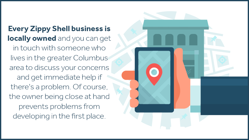 Every Zippy Shell business is locally owned and you can get in touch with someone who lives in the greater Columbus area to discuss your concerns and get immediate help if there's a problem. Of course, the owner being close at hand prevents problems from developing in the first place.