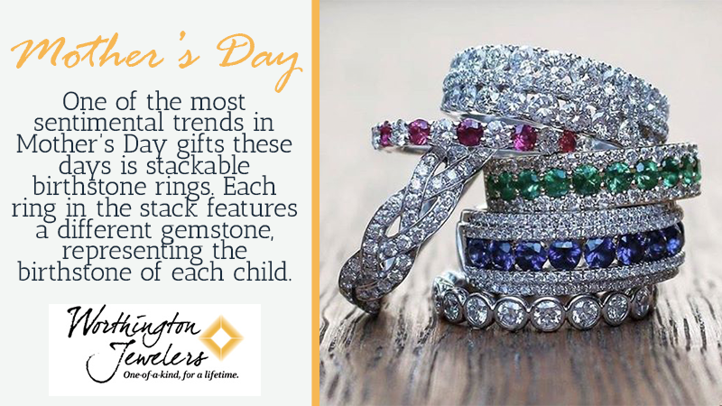 One of the hottest trends in Mother's Day gifts these days is stackable birthstone rings. Each ring in the stack features a different gemstone, representing the birthstone of each child.