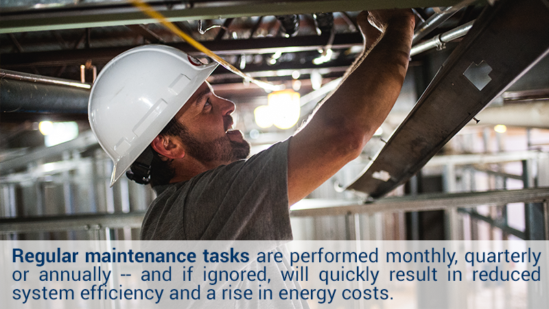 Regular maintenance tasks are performed monthly, quarterly or annually -- and if ignored, will quickly result in reduced system efficiency and a rise in energy costs.