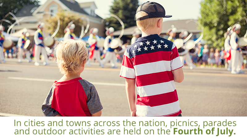 In cities and towns across the nation, picnics, parades and outdoor activities are held on the Fourth of July.