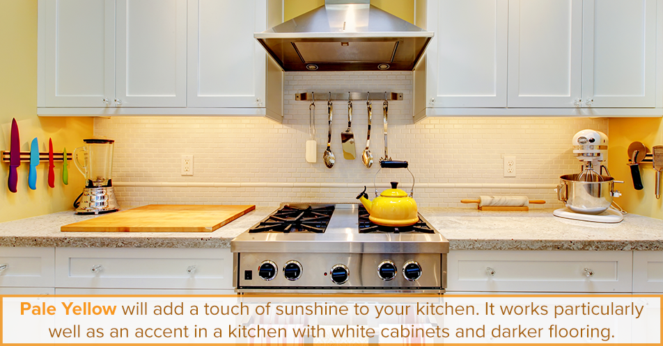 Pale yellow will add a touch of sunshine to your kitchen. It works particularly well as an accent in a kitchen with white cabinets and darker flooring.