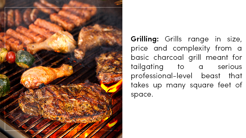 Grills range in size, price and complexity from a basic charcoal grill meant for tailgating to a serious professional-level beast that takes up many square feet of space.