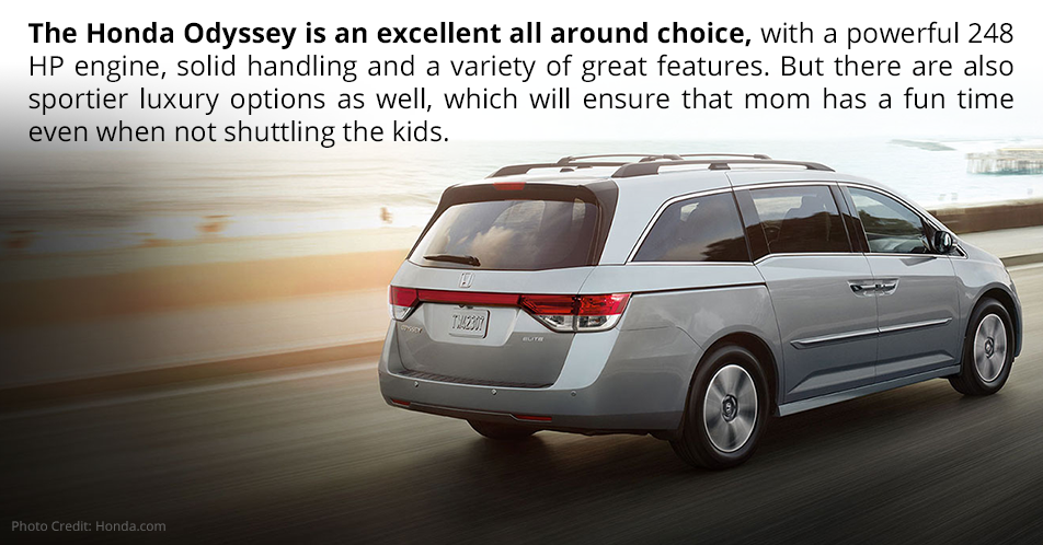 The Honda Odyssey is an excellent all around choice, with a powerful 248 HP engine, solid handling and a variety of great features. But there are also sportier luxury options as well, which will ensure that mom has a fun time even when not shuttling the kids.