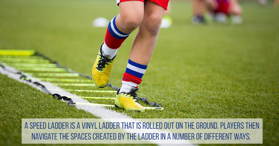 A speed ladder is a vinyl ladder that is rolled out on the ground. Players then navigate the spaces created by the ladder in a number of different ways.