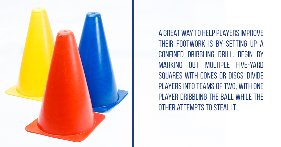 A great way to help players improve their footwork is by setting up a confined dribbling drill. Begin by marking out multiple five-yard squares with cones or discs. Divide players into teams of two, with one player dribbling the ball while the other attempts to steal it.