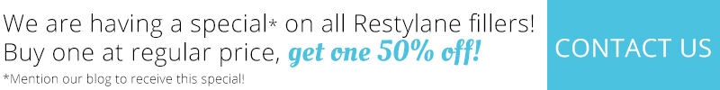 We are having a special on all Restylane fillers! Buy on at regular price, get one 50% off! Contact us