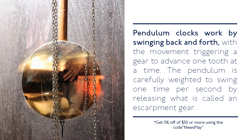 Pendulum clocks work by swinging back and forth, with the movement triggering a gear to advance one tooth at a time. The pendulum is carefully weighted to swing one time per second by releasing what is called an escarpment gear.