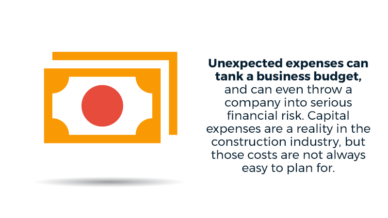 Unexpected expenses can tank a business budget, and can even throw a company into serious financial risk. Capital expenses are a reality in the construction industry, but those costs are not always easy to plan for.