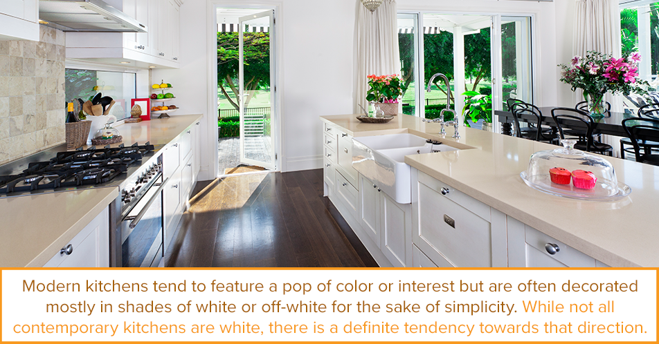 Modern kitchens tend to feature a pop of color or interest but are often decorated mostly in shades of white or off-white for the sake of simplicity. While not all contemporary kitchens are white, there is a definite tendency towards that direction.