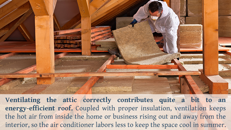 Ventilating the attic correctly contributes quite a bit to an energy-efficient roof. Coupled with proper insulation, ventilation keeps the hot air from inside the home or business rising out and away from the interior, so the air conditioner labors less to keep the space cool in summer.