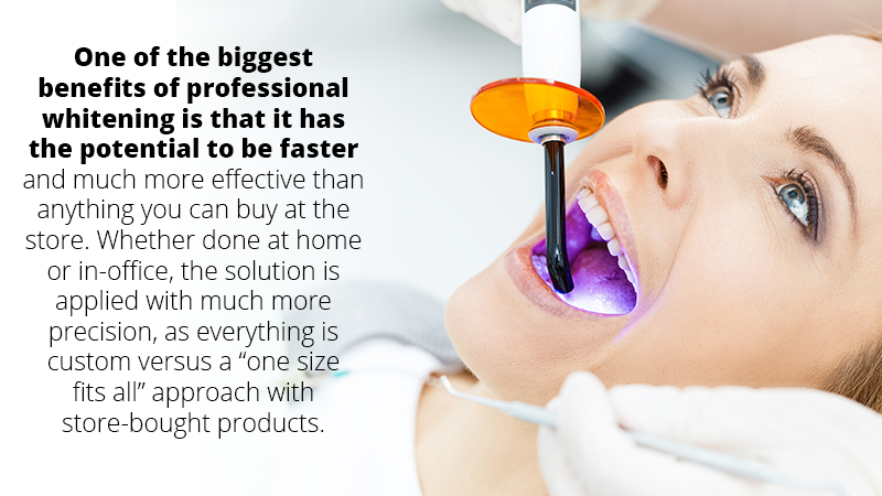 One of the biggest benefits of professional whitening is that it is usually faster and much more effective than anything you can buy at the store. Since the bleach is stronger, a professional treatment is much more likely to be effective in removing tough stains compared to store bought products.