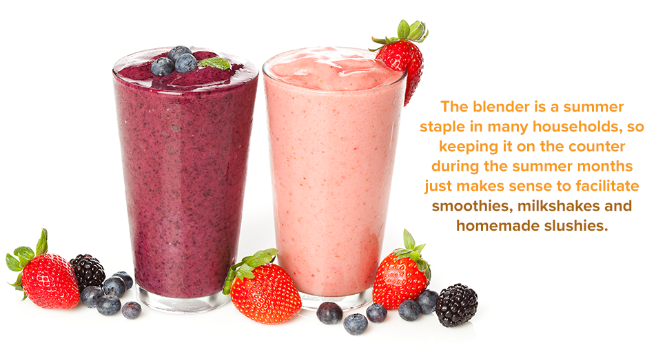 The blender is a summer staple in many households, so keeping it on the counter during the summer months just makes sense to facilitate smoothies, milkshakes, and homemade slushies.