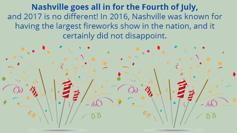 Nashville goes all in for the Fourth of July, and 2017 is no different! In 2016, Nashville was known for having the largest fireworks show in the nation, and it certainly did not disappoint.