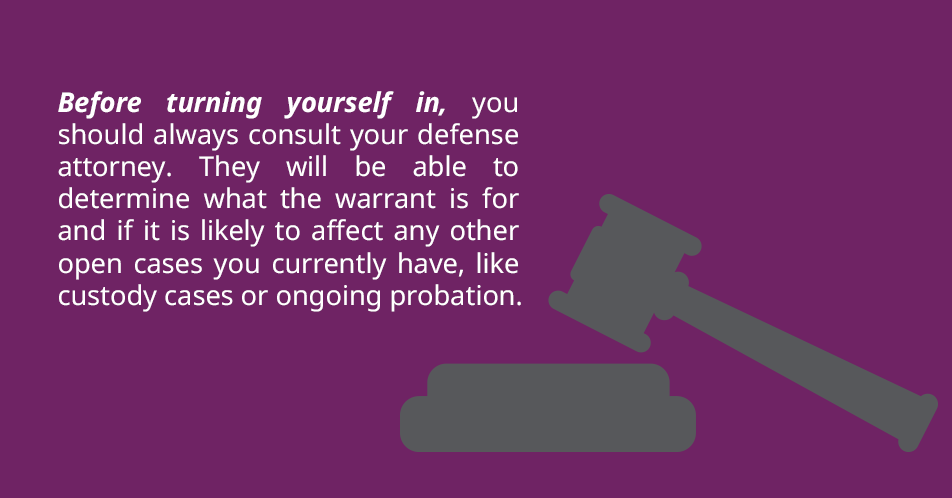 Before turning yourself in, you should always consult your defense attorney. They will be able to determine what the warrant is for and if it is likely to affect any other open cases you currently have, like custody cases or ongoing probation.