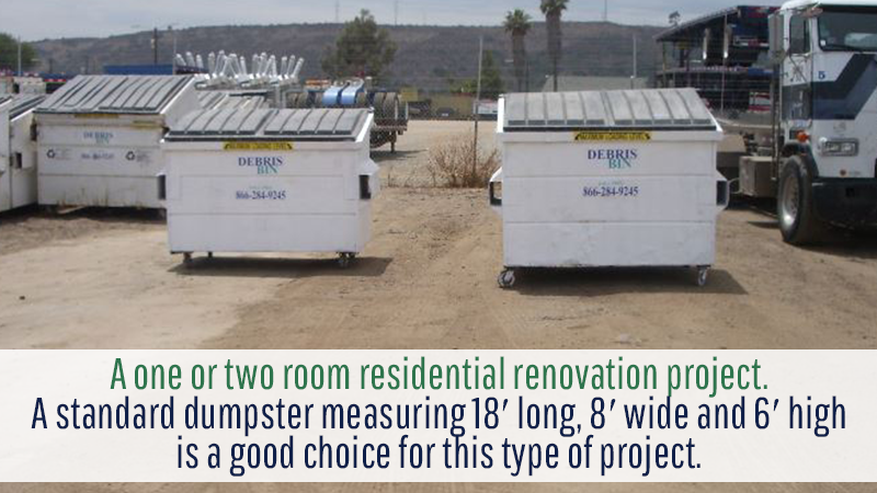 A one or two room residential renovation project. A standard dumpster measuring 18′ long, 8′ wide and 6′ high is a good choice for this type of project.