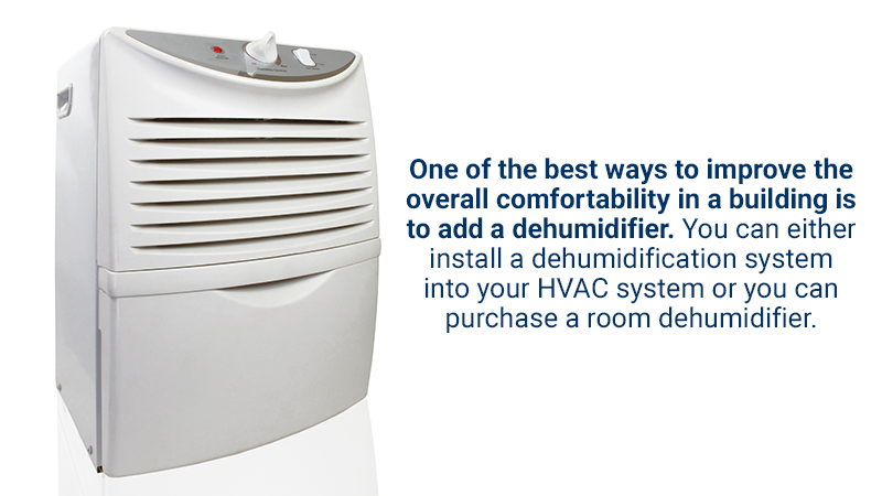 One of the best ways to reduce the overall humidity in a building is the addition of a dehumidifier. Room dehumidifiers are relatively simple to install and can help prevent structural damage to your building caused by excess water in the air.