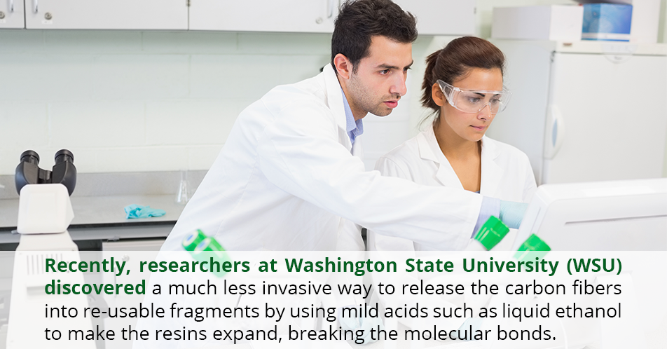 Recently, researchers at Washington State University (WSU) discovered a much less invasive way to release the carbon fibers into re-usable fragments by using mild acids such as liquid ethanol to make the resins expand, breaking the molecular bonds.
