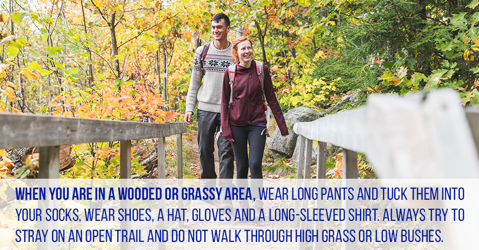 When you are in a wooded or grassy area, wear long pants and tuck them into your socks, wear shoes, a hat, gloves and a long-sleeved shirt. Always try to stray on an open trail and do not walk through high grass or low bushes.