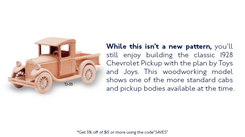 You'll enjoy building the 1928 Chevrolet Pickup with the plan by Toys and Joys.