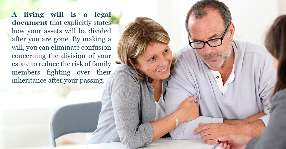 A living will is a legal document that explicitly states how your assets will be divided after you are gone. By making a will, you can eliminate confusion concerning the division of your estate to reduce the risk of family members fighting over their inheritance after your passing.