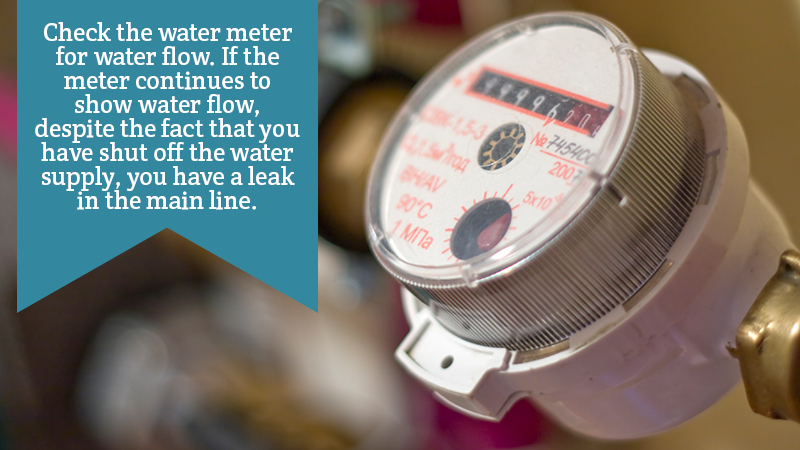 Check the water meter for water flow. If the meter continues to show water flow, despite the fact that you have shut off the water supply, you have a leak in the main line.