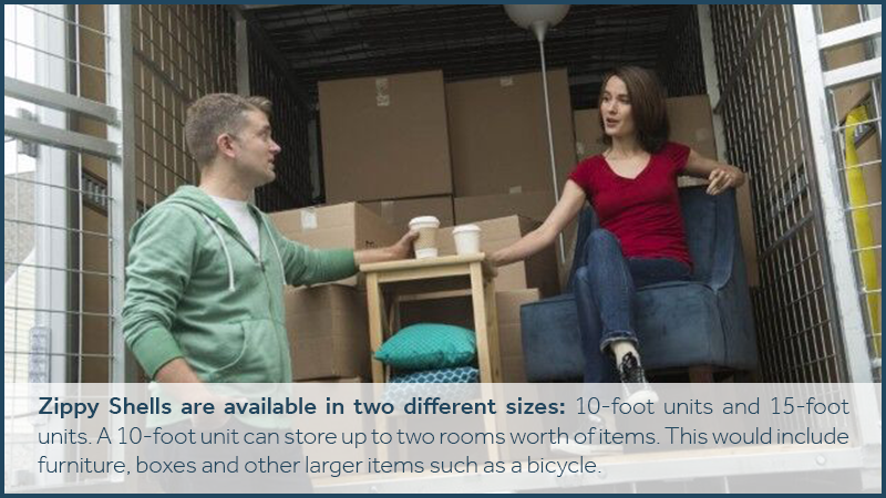 Zippy Shells are available in two different sizes: 10-foot units and 15-foot units. A 10-foot unit can store up to two rooms worth of items. This would include furniture, boxes and other larger items such as a bicycle.