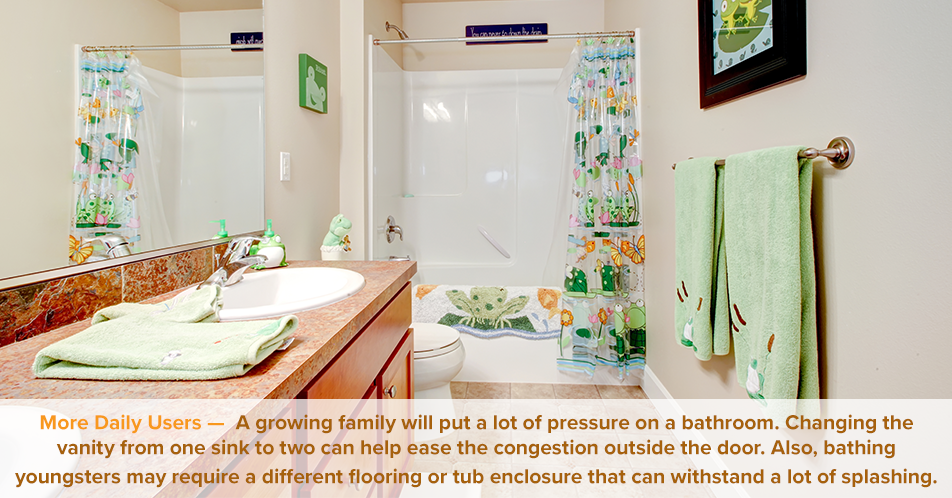 More Daily Users — A growing family will put a lot of pressure on a bathroom. Changing the vanity from one sink to two can help ease the congestion outside the door. Also, bathing youngsters may require a different flooring or tub enclosure that can withstand a lot of splashing.