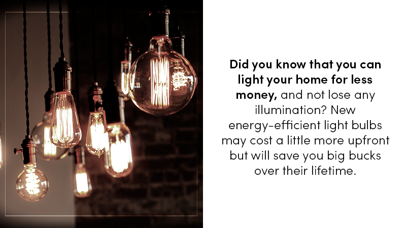 Did you know that you can light your home for less money, and not lose any illumination? New energy-efficient light bulbs may cost a little more upfront but will save you big bucks over their lifetime.