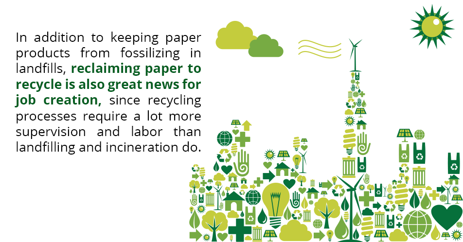 In addition to keeping paper products from fossilizing in landfills, reclaiming paper to recycle is also great news for job creation, since recycling processes require a lot more supervision and labor than landfilling and incineration do.