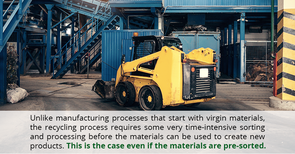Unlike manufacturing processes that start with virgin materials, the recycling process requires some very time-intensive sorting and processing before the materials can be used to create new products. This is the case even if the materials are pre-sorted.