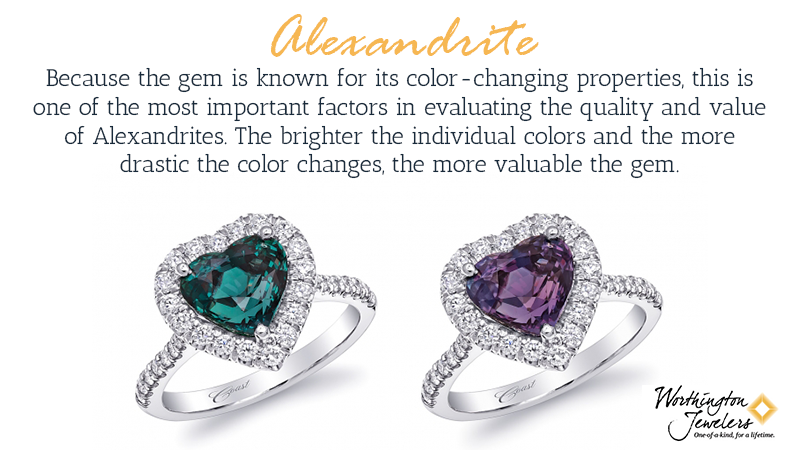 Because the stone is known for its color-changing properties, this is one of the most important factors in evaluating the quality and value of alexandrites. The brighter the individual colors and the more drastic the color changes, the more the stone is likely worth.