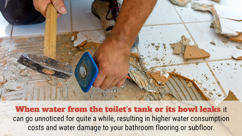 When water from the toilet's tank or its bowl leaks it can go unnoticed for quite a while, resulting in higher water consumption costs and water damage to your bathroom flooring or subfloor.