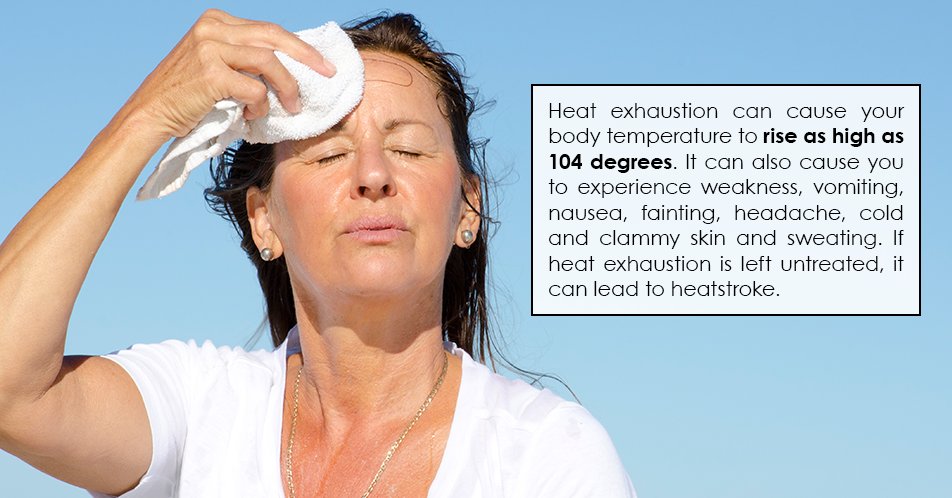 Heat exhaustion can cause your body temperature to rise as high as 104 degrees. It can also cause you to experience weakness, vomiting, nausea, fainting, headache, cold and clammy skin and sweating. If heat exhaustion is left untreated, it can lead to heatstroke.  or