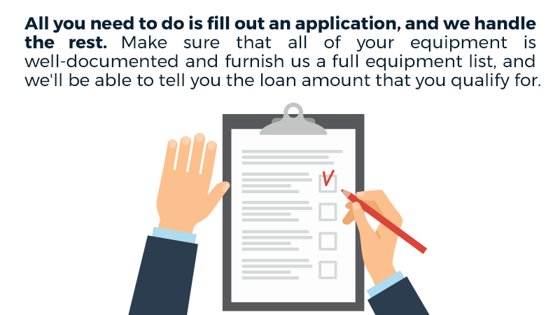 All you need to do is fill out an application, and we handle the rest. Make sure that all of your equipment is well-documented and furnish us a full equipment list, and we'll be able to tell you the loan amount that you qualify for.