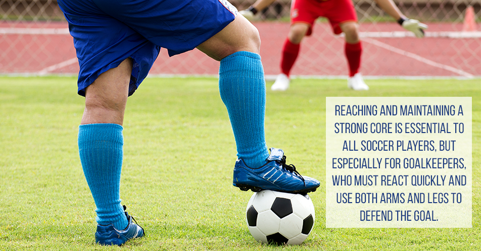 Reaching and maintaining a strong core is essential to all soccer players, but especially for goalkeepers, who must react quickly and use both arms and legs to defend the goal.