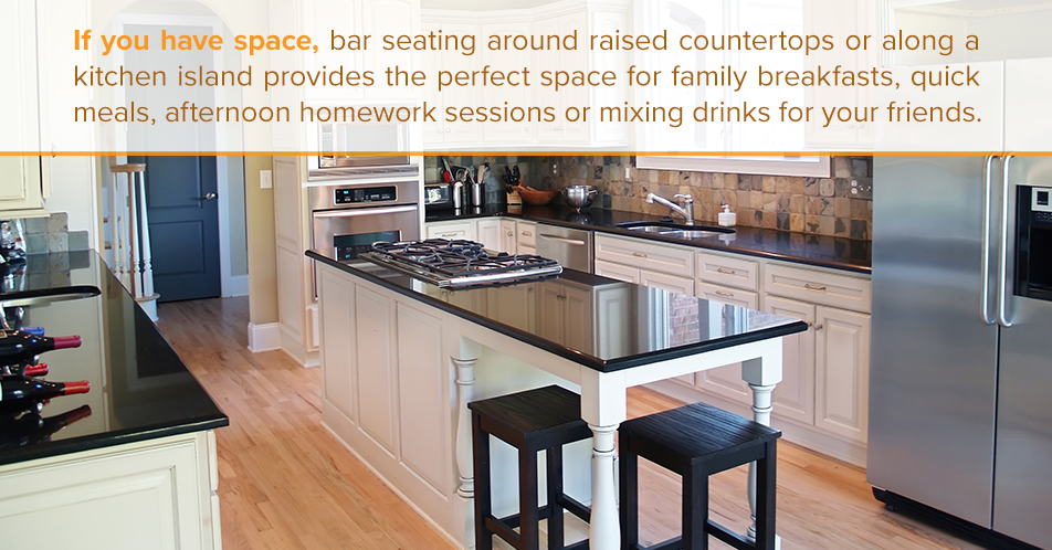 If you have space, bar seating around raised countertops or along a kitchen island provides the perfect space for family breakfasts, quick meals, afternoon homework sessions or mixing drinks for your friends.