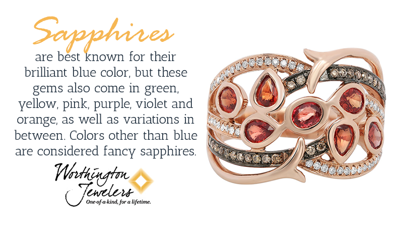 Sapphires are best known for their brilliant blue color, but there are other sapphires that come in green, yellow, pink, purple, violet and orange, as well as variations in between.