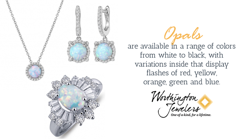 Opals are available in a range of colors from white to black, with variations inside that display fragmented areas of red, yellow, orange, green and blue.