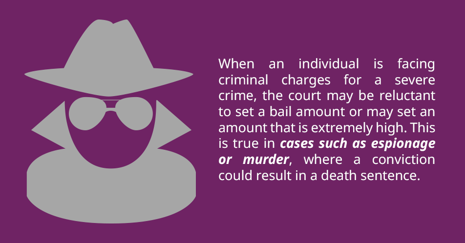 When an individual is facing criminal charges for a severe crime, the court may be reluctant to set a bail amount or may set an amount that is extremely high. This is true in cases such as espionage or murder, where a conviction could result in a death sentence.
