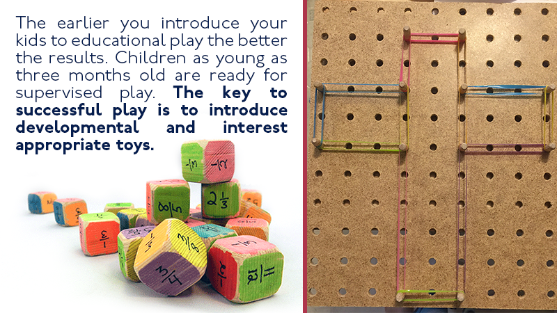 The earlier you introduce your kids to educational play the better the results. Children as young as three months old are ready for supervised play. The key to successful play is to introduce developmental and interest appropriate toys.