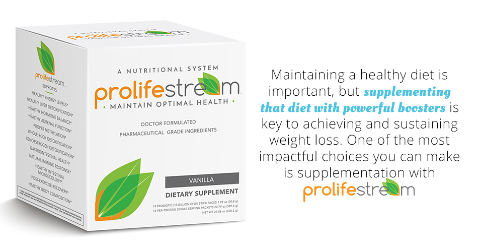 Maintaining a healthy diet is important, but supplementing that diet with powerful boosters is key to achieving and sustaining weight loss. One of the most impactful choices you can make is supplementation with ProlifeStream.