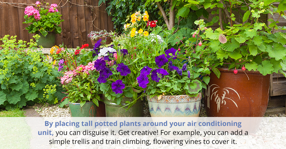 By placing tall potted plants around your air conditioning unit, you can disguise it. Get creative! For example, you can add a simple trellis and train climbing, flowering vines to cover it.